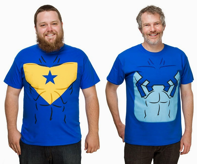 Think Geek Exclusive Booster Gold & Blue Beetle DC Comics T-Shirts