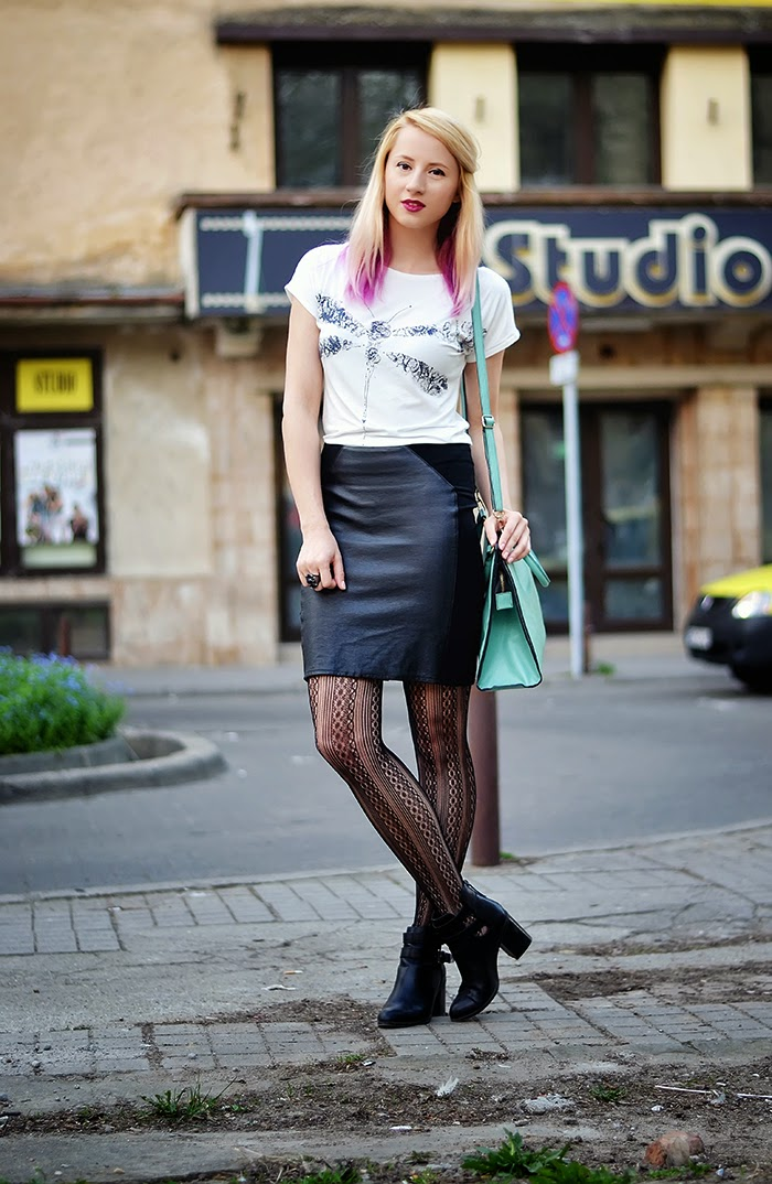 dragonfly top leather skirt uniqlo tights