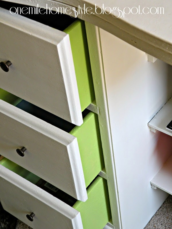 Vintage Kids Desk Detail - White with Green Drawers