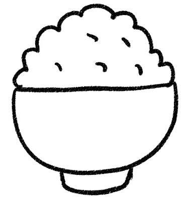 ご飯のイラスト「どんぶりの山盛りご飯」 モノクロ線画