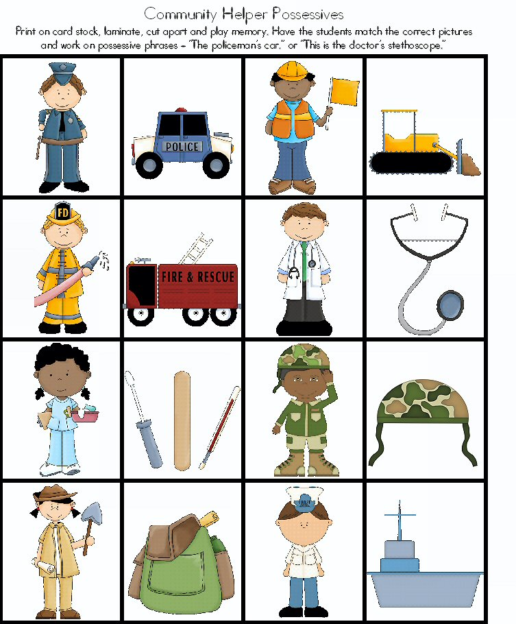 Community Helpers Worksheets : Adventures in tutoring and special education community
