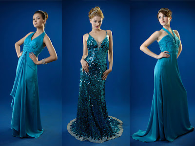 a-line blue halter floor evening dresses