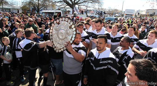 With shield: Willie Ioane - Parade in Hastings for the Hawke's Bay Magpies rugby team, followed by a mayoral reception, civic reception at Civic Sqaure. Winners of the Ranfurly Shield, after beating Otago 20-19 in Dunedin on Sunday photograph