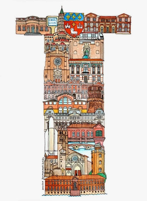 20-T-Toulouse-France-Hugo-Yoshikawa-Illustrated-Architectural-Alphabet-City-Typography-www-designstack-co