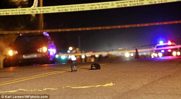 This picture shows the photographer's hat and shoe lying in the road where he was hit