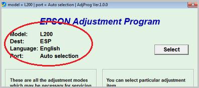 Проверьте модель принтера в окне программы