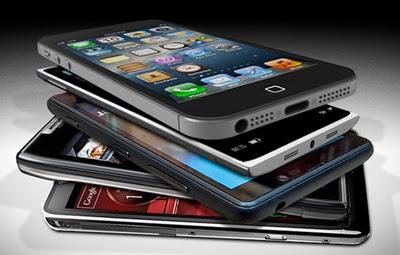 Seleção de cinco smartphones de fabricantes diferentes