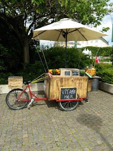 A street food stall hawker in Copenhagen.