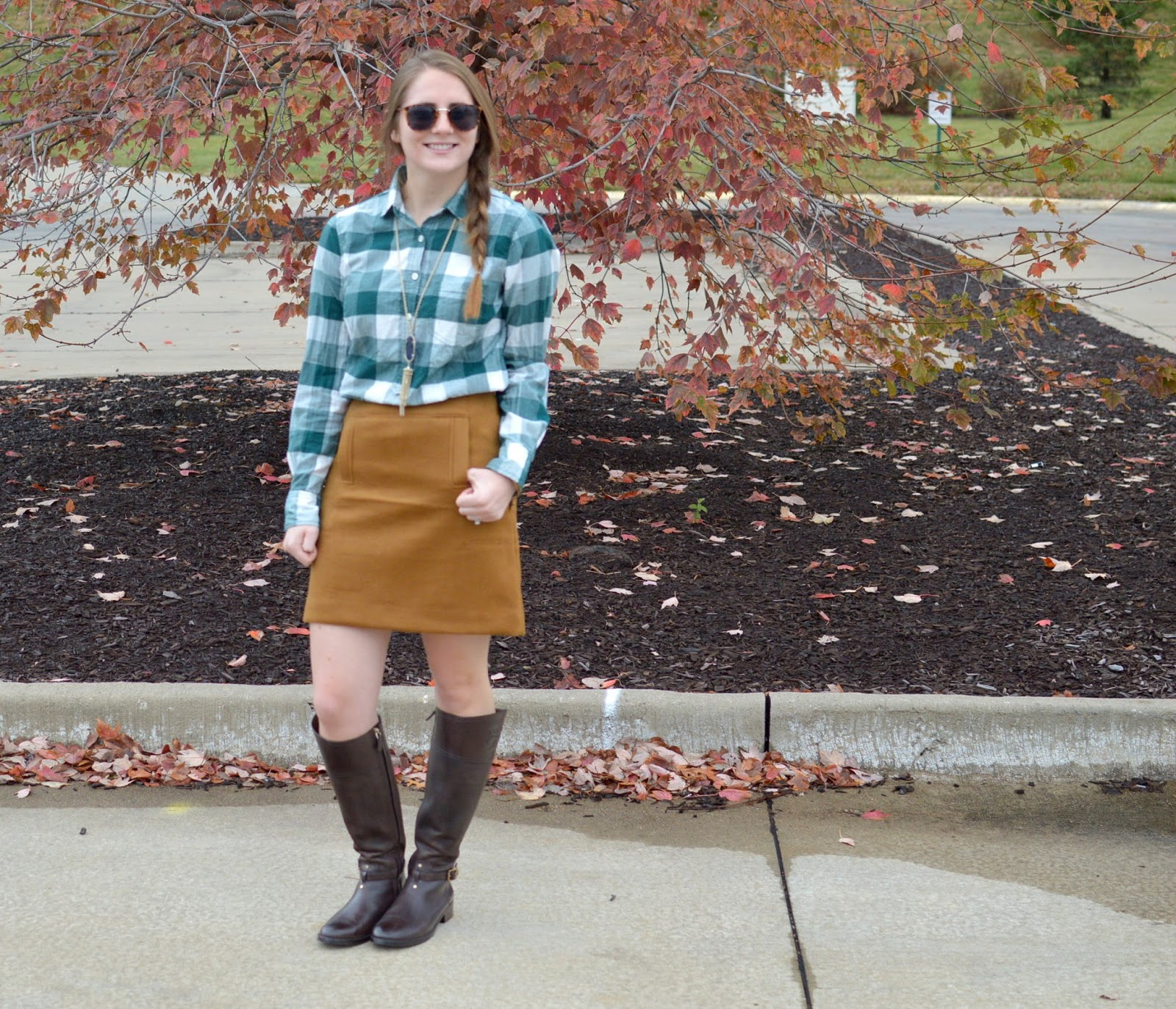 suede skirt with a plaid top