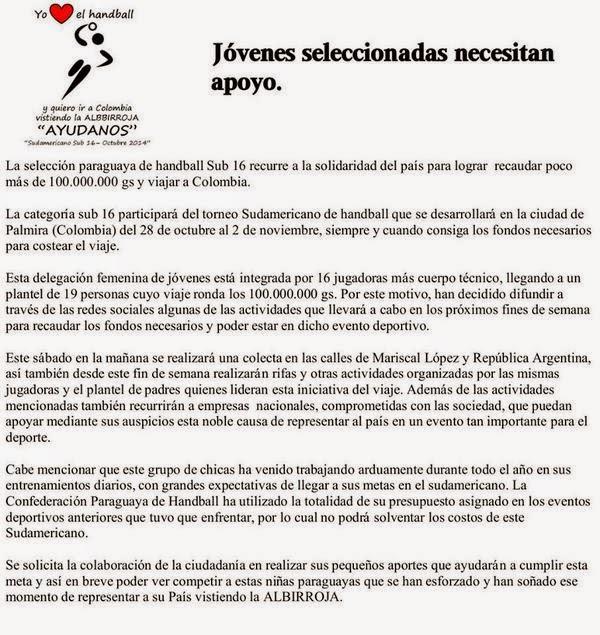 Jugadoras paraguayas buscan ayuda para jugar sudamericano | Mundo Handball