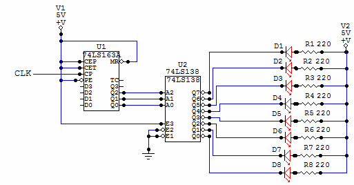 Digital Led Chaser circuit diagram
