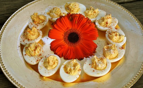 Cheesy Deviled Eggs with Paprika