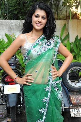 Tapsee cute n hot in transparent green saree