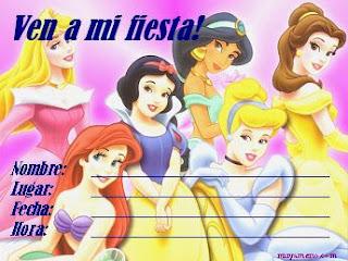 Invitaciones de Cumpleaños, Princesas Disney, modelo 2