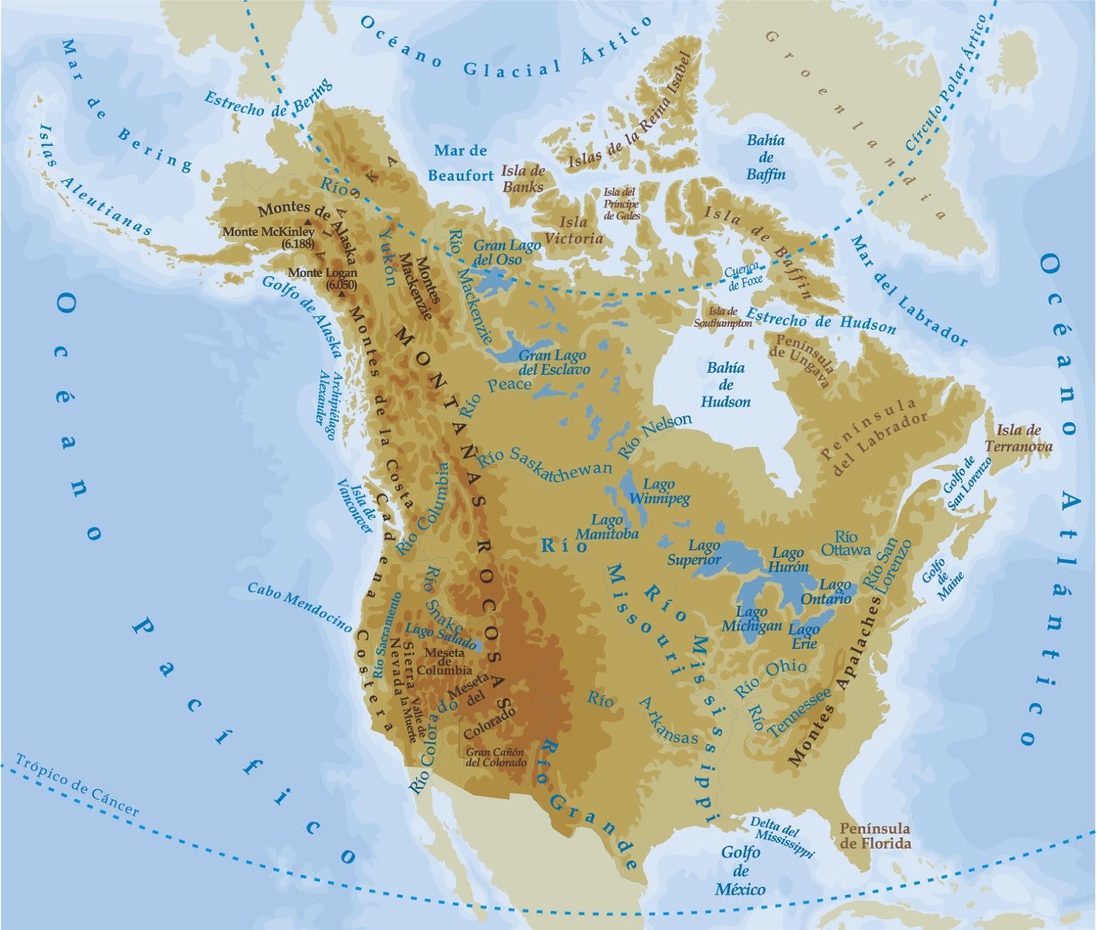 Mapa De Relieve De America Del Norte