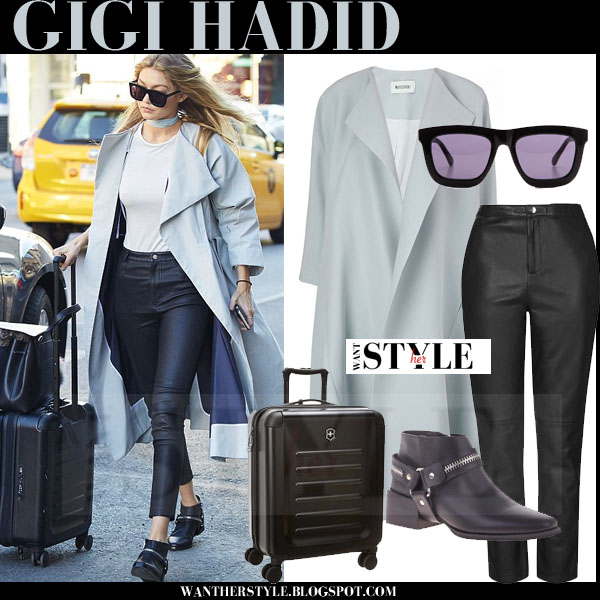 Gigi Hadid in light blue maticevski coat and black leather topshop pants what she wore models off duty