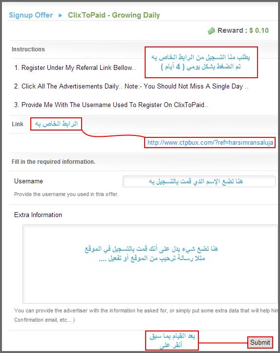 الربح مقابل إتمام العروض في موقع clicksia