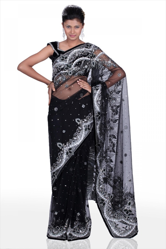 pakistani Black Net Saree
