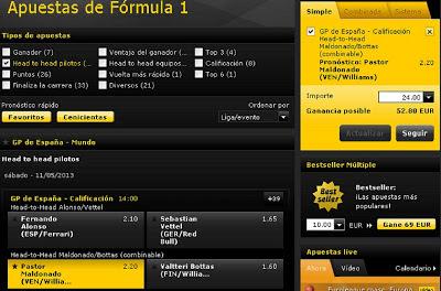 Apuestas Deportivas Fórmula 1– Gran Premio de España maldonado bottas bwin