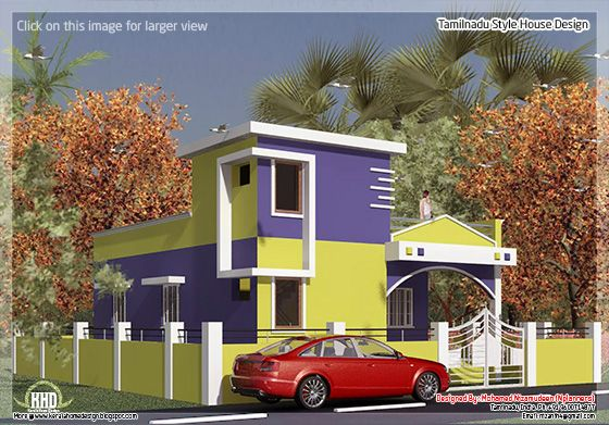 875 2 bedroom single floor home design kerala for Tamilnadu home design photos