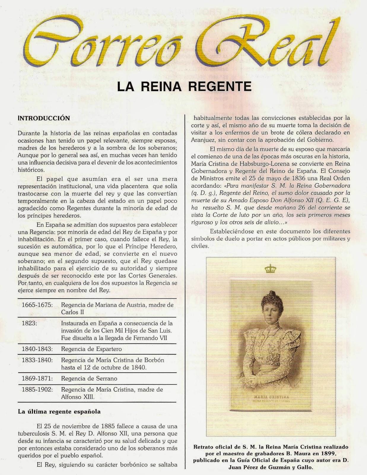 el mundo del coleccionismo correo real la reina regenta On correo real