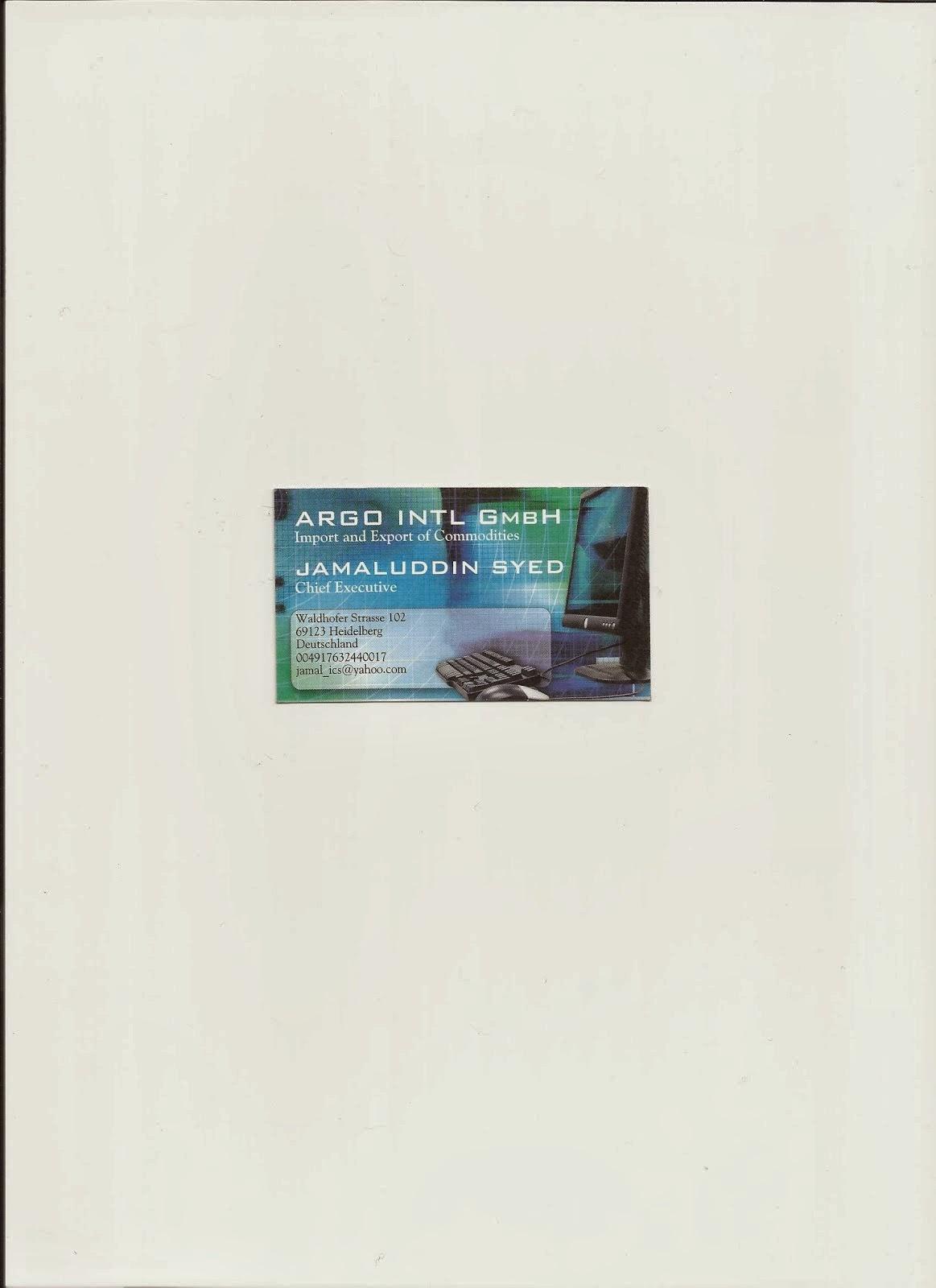 SYED JAMALUDDIN CARD