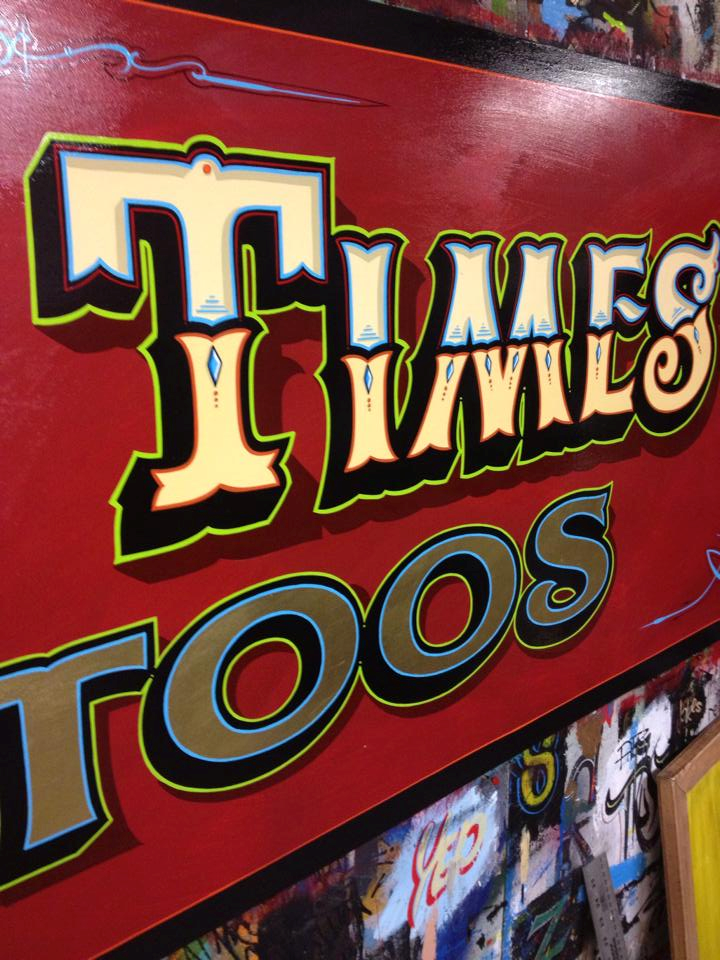 Goodtimes tattoo hand painted sign Saskatoon Canada by dobell signs north america
