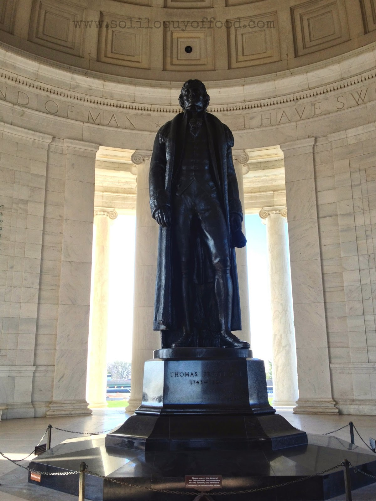 Jefferson stands 19 feet tall - The Jefferson Memorial - Cherry Blossoms 2014 - www.soliloquyoffood.com