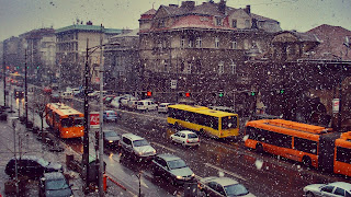 City Traffic Winter Day HD Wallpaper