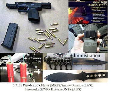 Loaded firearm, signal flares and flare gun, smoke grenade, fireworks, knives.