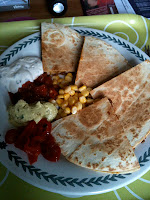 quesadillas made with quorn chilli, sweetcorn, guacamole, soured cream & salsa dips