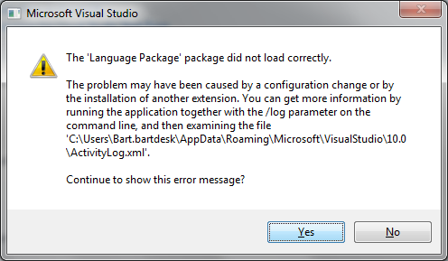 The 'Language Package' package did not load correctly. The problem may have been caused by a configuration change or by the installation of another extension. You can get more information by running the application together with the /log parameter on the command line, and then examining the file 'C:\Documents and Settings\Administrator\Application Data\Microsoft\VisualStudio\10.0\ActivityLog.xml'.