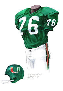 1974 University of Miami Hurricanes football uniform original art for sale