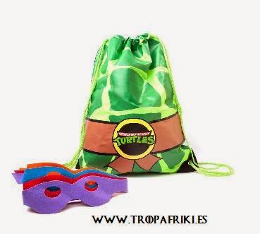 mochila cuerdas frikis Bolsa de cuerdas caparazón tortugas ninja y antifaz para disfrazarse 9,95€