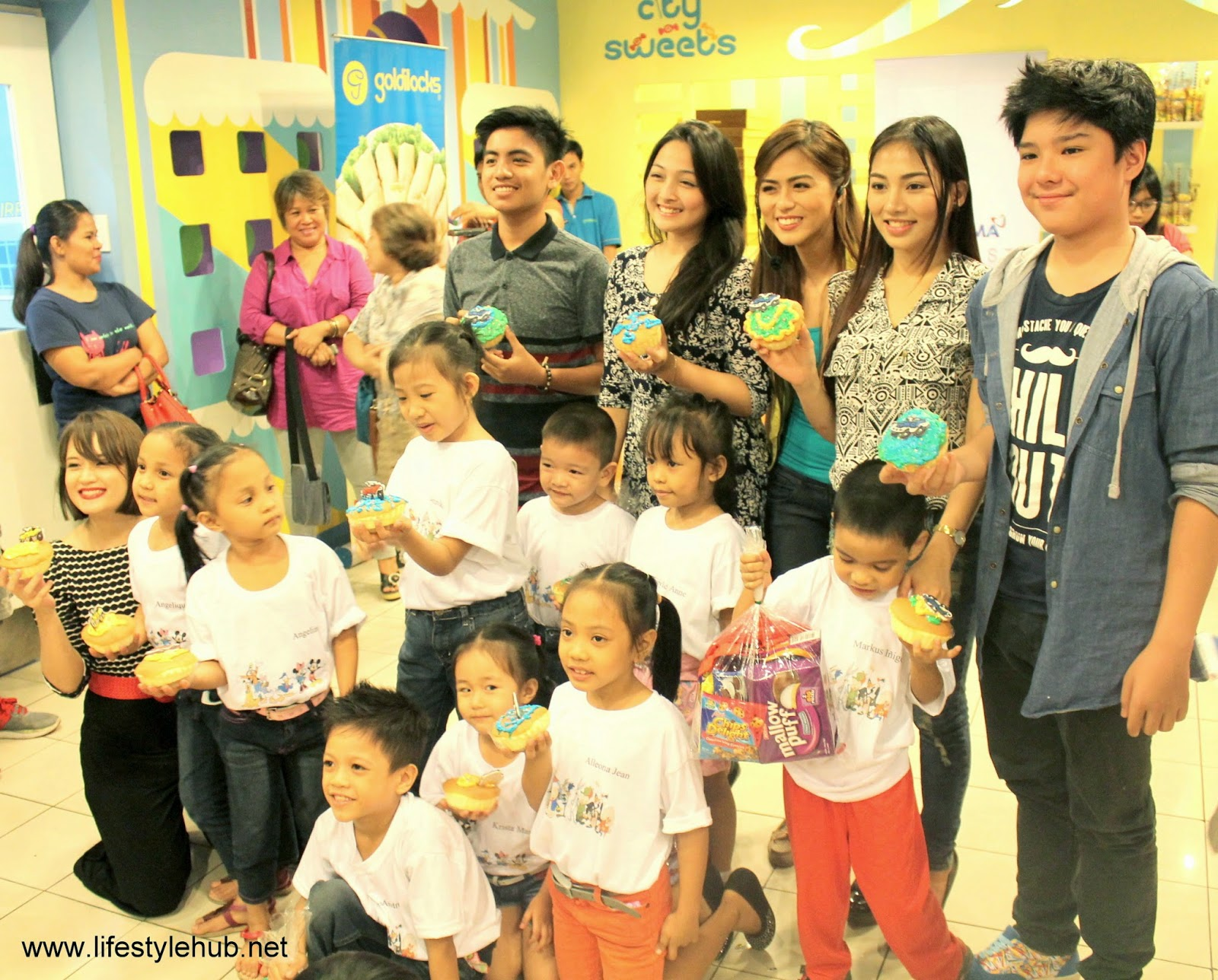 arkin magalona, joanna marie tan, annicka dolonius birthday at goldilocks cake plant