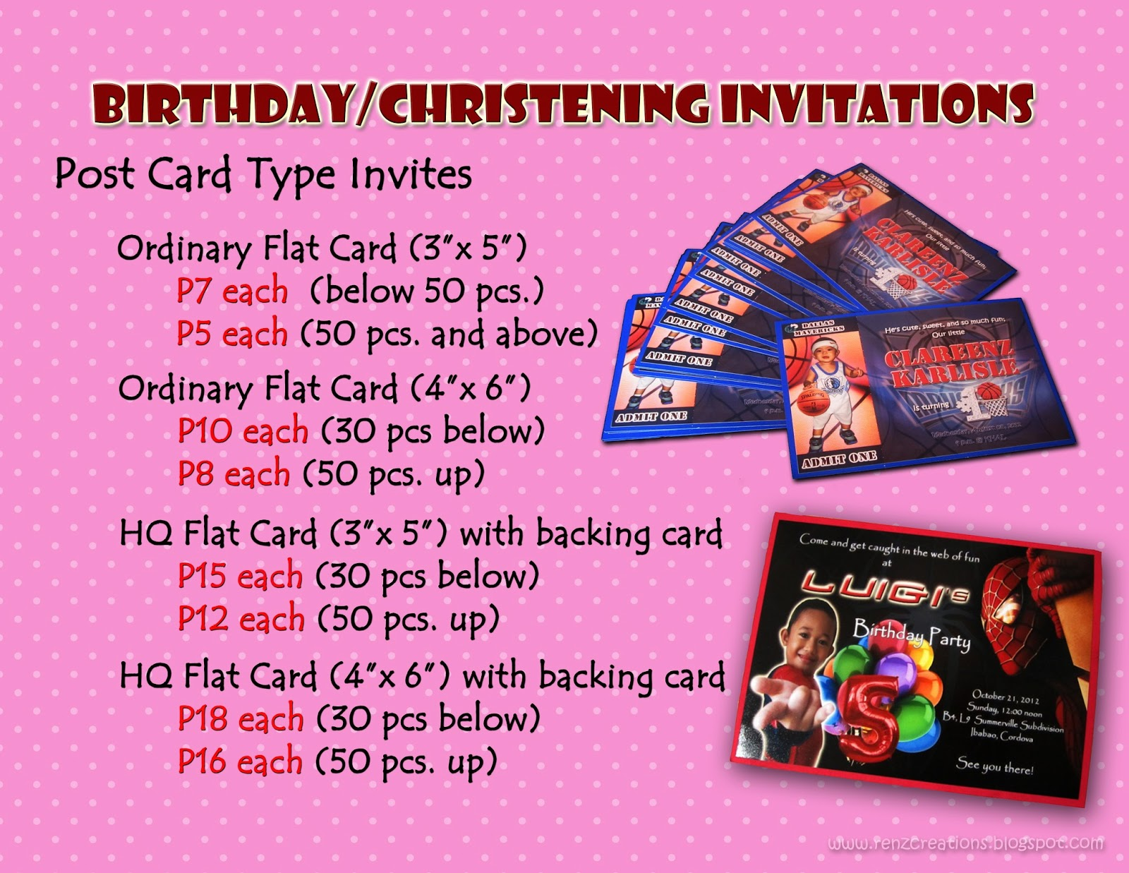 Renz creations invitations and giveaways prices invitation cards prices invitation cards stopboris Choice Image