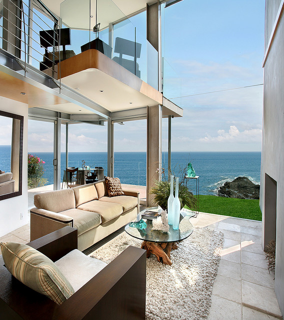 Photo of ocean view from the modern living room