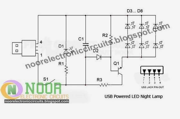 Noor Electronic Circuits: USB Powered LED Night Lamp Circuit