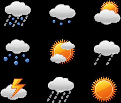 Cevap hava durumu simgeleri hava şartları ler