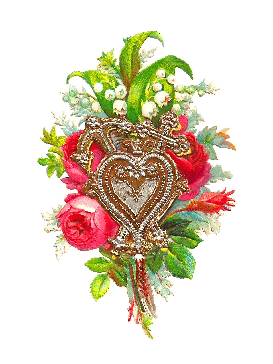 This Is A Beautiful Victorian Scrap Of Red Rose Bouquet And Lovely Design Heart Two Crosses I Love The Pretty Contract Between Colorful
