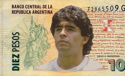 Diego Maradona on the Argentine 10 peso bill