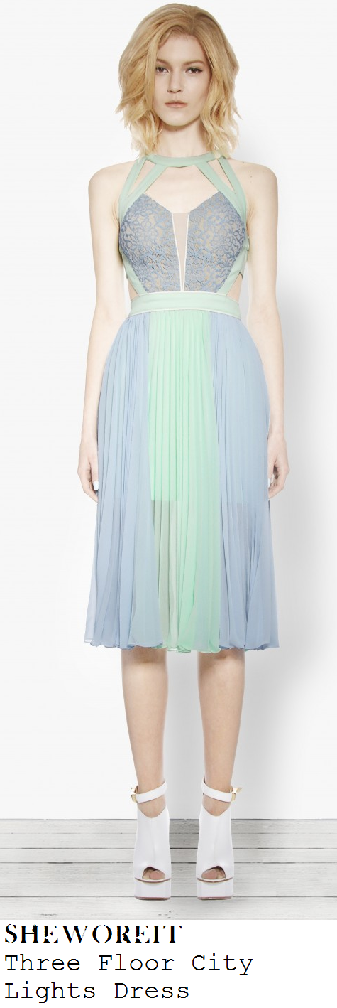 lucy-mecklenburgh-light-blue-and-mint-green-sleeveless-lace-nude-mesh-panel-pleated-dress