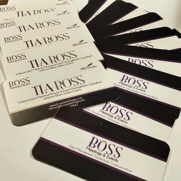 GotPrint Boss Meetings Black and White Business Cards fanned on table