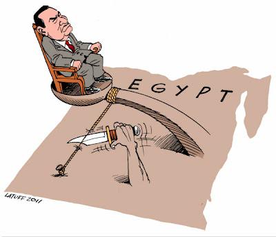Latuff - Catapulting Mubarak