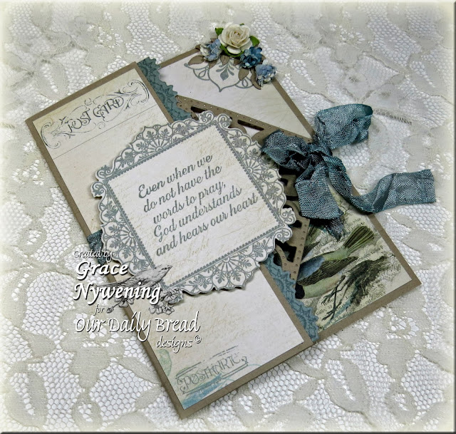 Our Daily Bread designs stamps: Ornate Borders and Flowers, No Words, Serve the Lord, ODBD Custom Ornate Borders and Flower die, ODBD Crocheted Border die