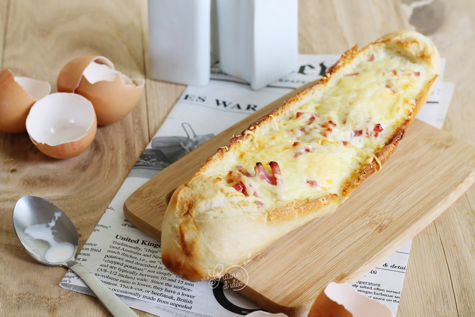 Egg Boat Allumettes Jambon Oeufs Crème Emmental Râpé - Une Graine d'Idée