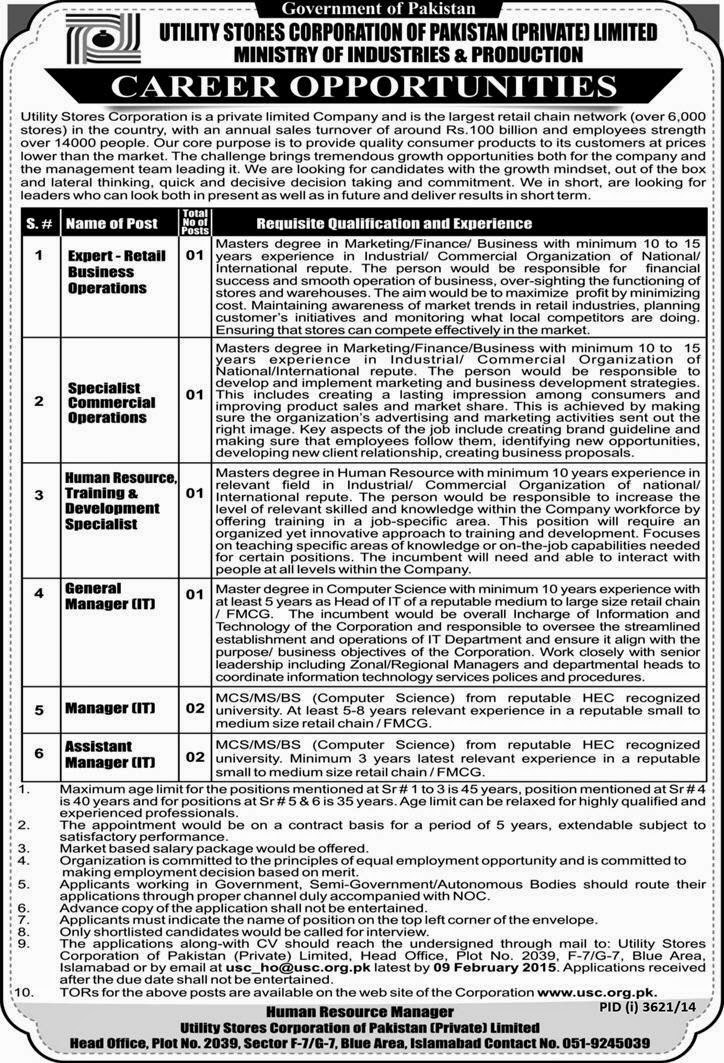 Govt Jobs in Utility Stores Corporation Pakistan