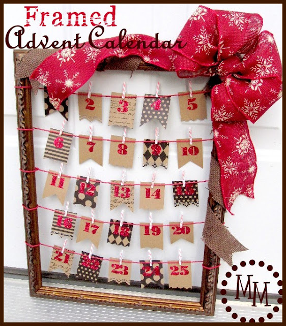 Advent Calendar Homemade : Framed advent calendar homemade christmas decor the