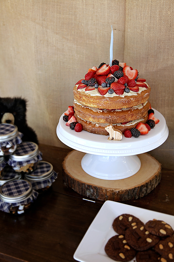 Bear Theme 1st Birthday!  Naked Cake with Berries