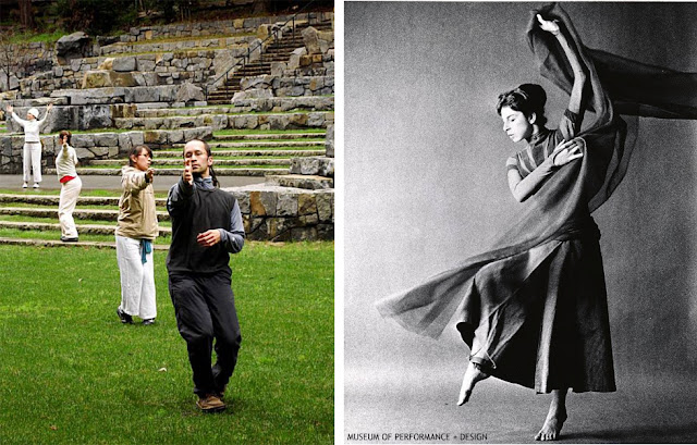 (Left) Spirit of Place performance, May 2009, photograph by Kegan Marling, San Francisco Chronicle; (right) Anna Halprin in Madrona at Stern Grove, c. 1954 Courtesy of Anna Halprin Digital Archive, Museum of Performance and Design